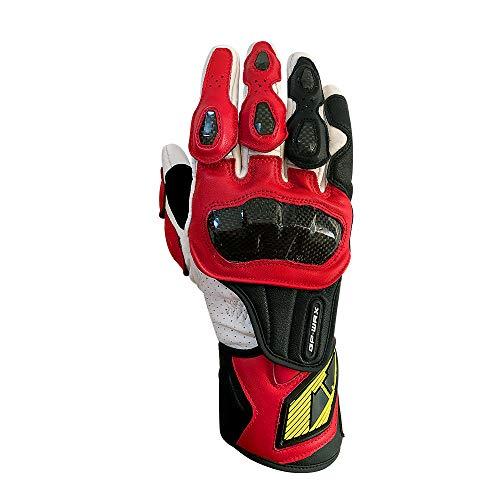 Full finger Carbon Fiber Motorcycle Gloves for Men GP-PRO Genuine Leather Motor Racing Gloves(G07-Red, Large)