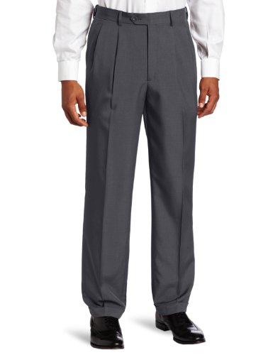 Pants Dress Gray Charcoal (Savane Men's Big and Tall Pleated Select Edition Crosshatch Dress Pant, Charcoal, 36W x 36L)