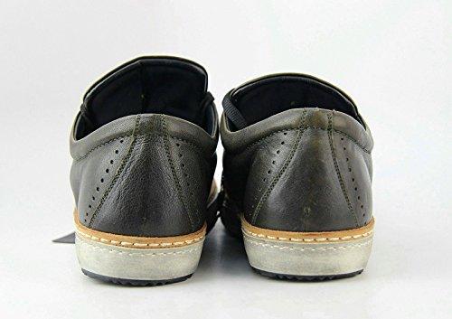 Kiton Handgjorda Gymnastikskor Mossa 100% Läder Storlek 8 Bred Gjord I Italien 41 Eu