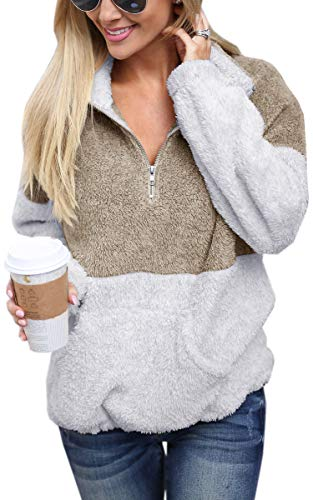 Half Fleece Zip Pullover - Angashion Womens Long Sleeve Half Zip Fuzzy Fleece Pullover Jacket Outwear Sweatshirt Tops Coat with Pocket Coffee S