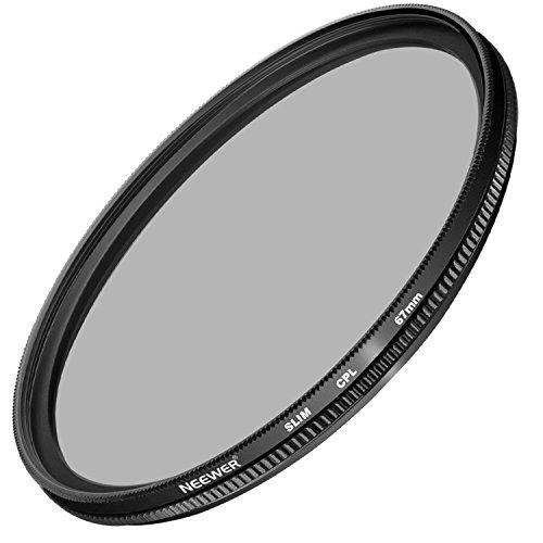 Neewer 67MM Ultra Slim CPL Filter Circular Polarizer Lens Filter for Canon Rebel (T5i, T4i, T3i, T2i), EOS (70D, 700D, 650D, 600D, 550D) DSLR Cameras, Made of HD Optical Glass and Aluminum Alloy Frame by Neewer