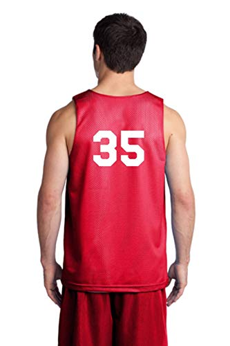 Players Inc Basketball Custom Numbered Red-White Reversible Mesh Uniform Top (Adult Large) ()