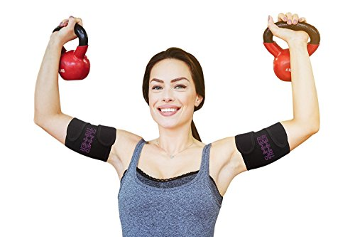 Slimmer Trimmer Premium Arm Trimmers - Pair of Weight Loss Sweat Arm Trainers for Women + Men Thermal Arm Slimming Wraps. Arms Fat Burner Trainer Bands, Exercise Enhancer Sweating S-M (up to 16
