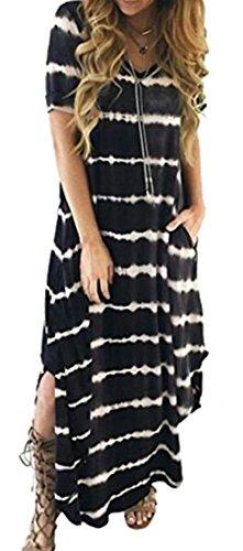 Collar Striped Black Women Wave Sleeve Long Asymmetrical Short Slit Dresses Cromoncent SIwXxa