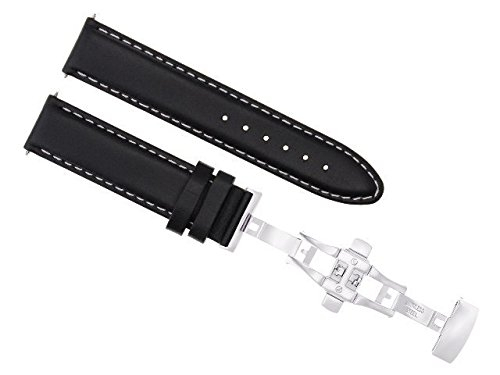 22MM Smooth Leather Watch Band Buckle Clasp Strap for MOVADO Bold 3600261 Black WS #2 -  Ewatchparts, EWP010268
