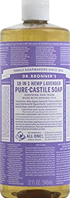 Dr. Bronner's - Pure-Castile Liquid Soap (Lavender, 32 ounce) - Made with Organic Oils, 18-in-1 Uses: Face, Body, Hair, Laundry, Pets and Dishes, Concentrated, Vegan, Non-GMO