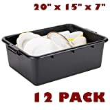 12 Pack 20'' x 15'' x 7'' Black Polypropylene Bus Box Plastic Restaurant Table Dish Tub Commercial Kitchen Garage Storage