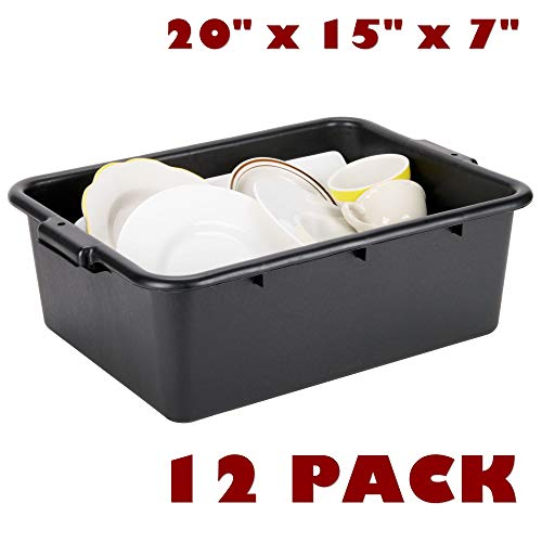 12 Pack 20'' x 15'' x 7'' Black Polypropylene Bus Box Plastic Restaurant Table Dish Tub Commercial Kitchen Garage Storage by Bus Tubs