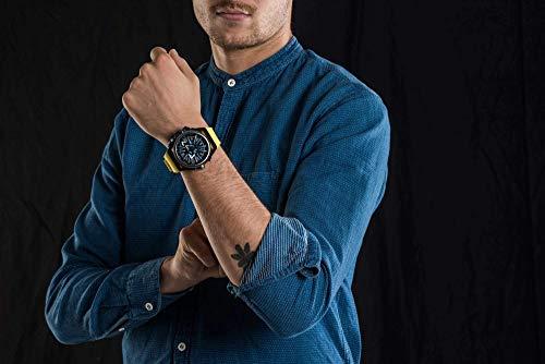 Mazzucato fälg vändbar automatisk och kronograf klocka med FKM gummiband gul GT 06-YL654