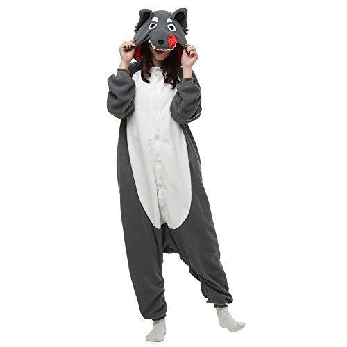 Unisex Adult Animal Onesie Grey Wolf Cosplay Costume