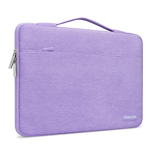 MOSISO 360 Protective Laptop Sleeve Compatible with 13-13.3 inch MacBook Pro, MacBook Air, Notebook Computer, Polyester Bag with Trolley Belt, Light Purple