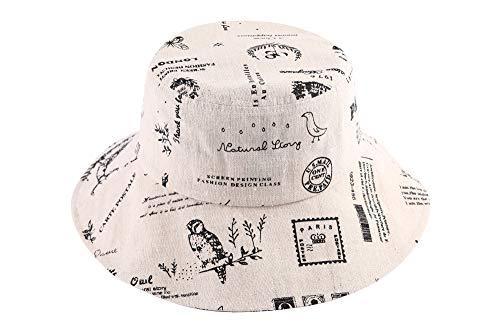 ZLYC Womens Wide Brim Bucket Hat Outdoor Packable Sun Hats (Stamp Beige)