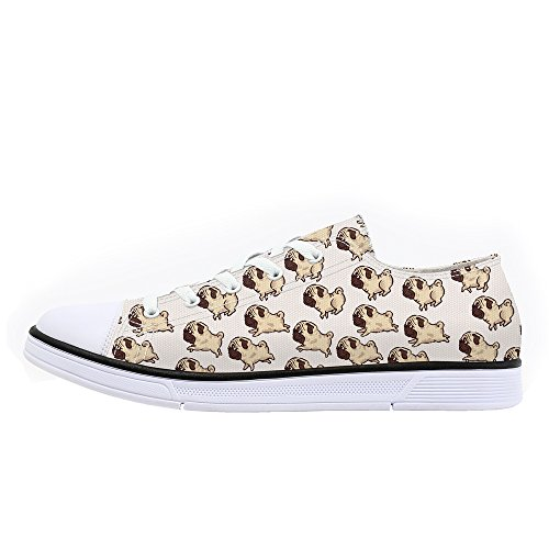 FIRST DANCE Classic Canvas Shoes Cute Dog Print Sneaker Low Top Lace Up Lightweight 9Hbd9