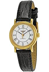 Longines Presence Automatic White Dial Black Leather Ladies Watch L43212112