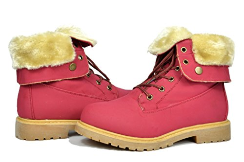 DREAM PAIRS Womens Winter Faux Fur Lined Collar Rubber Outsole Snow Ankle Boots Booties