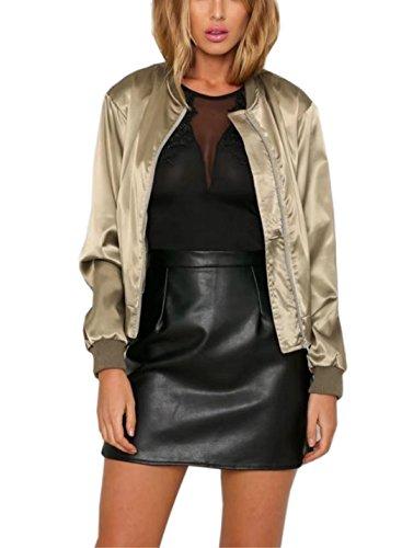 FFLMYUHULIU Women's Casual Bomber Zip Up Quilted Lightweight Jackets Baseball Short Coat Outwear (Khaki, Medium)
