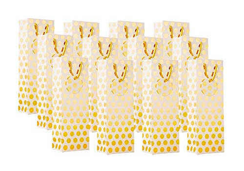 UNIQOOO 12Pcs Premium Gold Metallic Foil Polka Dot Wine Bag Bulk, w/Gift Message Tag,Recyclable 14