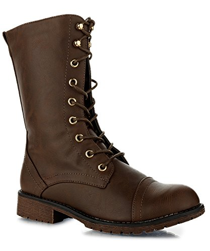 Mid Boots Brown Calf (RF ROOM OF FASHION Trudy-21 Boots (Brown PU Size 7))