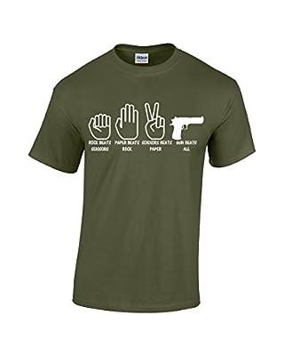 Crazy Bro's Tees Rock, Paper, Scissor, Gun - Gun Beats All - Funny Men's T-Shirt