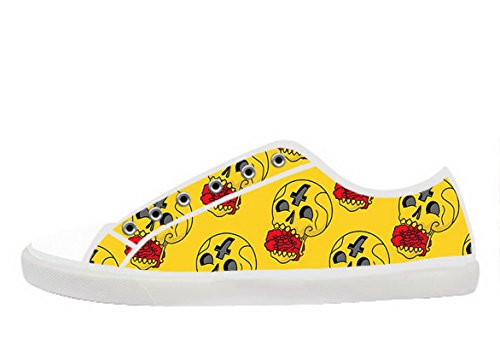 Womens Canvas Low Top Shoes with Day of the Dead Theme Canvas Women Shoes02 18roeuO5J