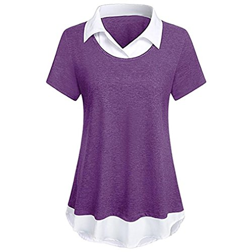 Zipper Back Tee - Sontefz Fashion Women Collar Neck Patchwork Short Sleeve Blouse Tops Contrast Collar Hem T Shirt (L, Purple)