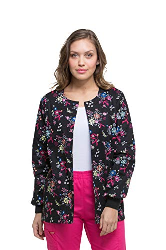 Dickies EDS Signature Women's Snap Front Warm-Up Floral Print Scrub Jacket Large Print