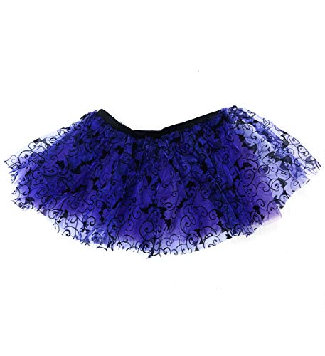 Mozlly Purple Stretchable Pull On Tutu for Women Decorated w/ Bats One Size Fits Most Adult Ballet Costume Princess Fairy Halloween Outfit Comfortable Tutu Skirt w/ Garter for -