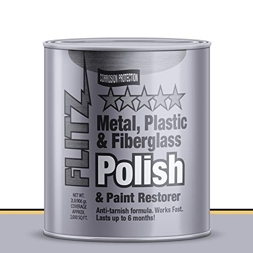 Flitz Multi-Purpose Polish and Cleaner Paste for Metal, Plastic, Fiberglass, Aluminum, Jewelry, Sterling Silver: Great for Headlight Restoration + Rust Remover, Made in the USA, 2lb Quart Can (Paste Quart)