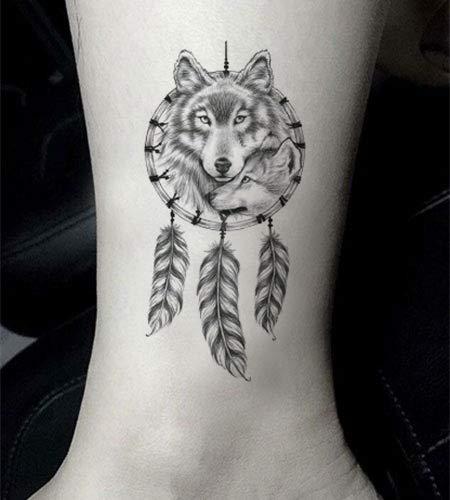 SanerLian Set of 5 Waterproof Temporary Fake Tattoo Stickers Grey Dream Catcher Wolf Feather