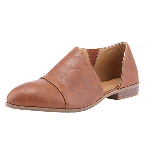 Womens Casual Loafer Slip Nulibenna Slip on Out Boot Ankle Toe On Cut Brown Pointed 6RqWBw4