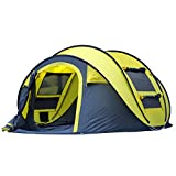 Qisan 4 Person Automatic Camping Tent Outdoor Pop-up Tent Waterproof Quick-Opening Tents Canopy with Carrying Bag Easy to Set up