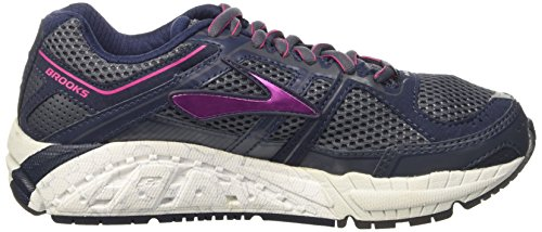 Brooks Addiction 12, Zapatillas de Running Para Mujer Ombre Blue/Obsidian/Fuchsia Purple