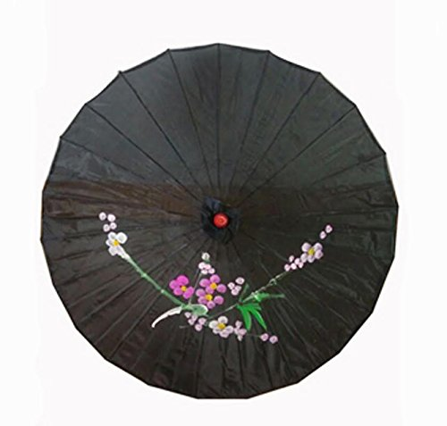JapanBargain S-3999, Chinese Japanese Oriental Parasol Umbrella 32-inch, Black Color -