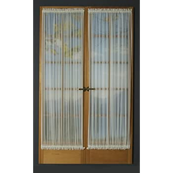 Amazon.com: Kerry Door Panel Curtain With Tie Back 40Inchby63Inch  White: Home u0026 Kitchen
