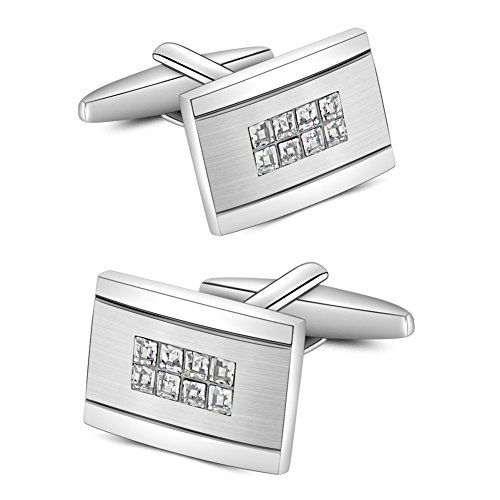 Swarovski Cufflinks Cuff (Mr.Van Swarovski Crystal Cufflinks Rectangle Cuff Links Set for Men Wedding Party)