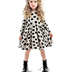 Baby Clothes, Egmy Cute Baby Girl Black Cat Long Sleeved Dresses (12-18Months)