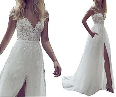 Vivibridal Women's Illusion Jewel Neck High Split Country Wedding Dress Bridal Gown