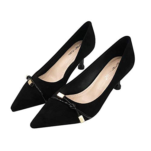 Profonde Chaussures En Talon Noeud Hrcxue Daim Noir Bouche Avec Pointu Sauvage Rond Pour Ans À Femmes Femme 37 Bout Peu qzqRTwt