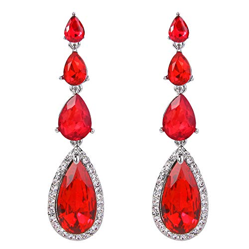 BriLove Wedding Bridal Dangle Earrings for Women Elegant Multi Teardrop Long Chandelier Earrings Ruby Color ()