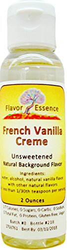 FRENCH VANILLA CREME Flavoring by Flavor Essence (Unsweetened, Natural Background Flavoring) 2 Oz.| For Beverages: coffee/tea, shakes, smoothies, bar drinks. For Foods: baking, doughs, batters, frostings, yogurt