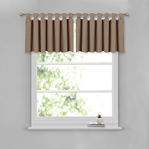NICETOWN Window Curtain Tiers and Valances - 52-inch by 18-inch Tab Top Valance Window Curtains (Cappuccino, 2 - Tab Top Window Curtain