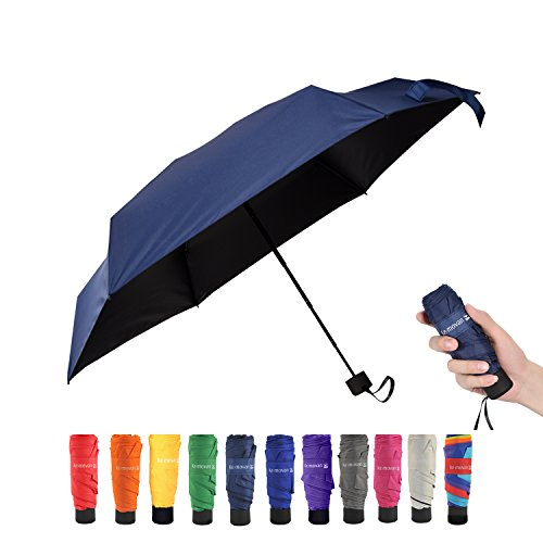 Travel Compact Umbrella Extra Light Mini Parasol Sunblock and Anti-Rain UPF50+ - Fits Men & Women, Easy to Put in Purse (Navy - Easy Return