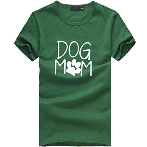Funic Women Lucky Dog Mom Print Short Sleeved Blouse Loose T-Shirt Casual O-Neck Fashion Top(Green,M)
