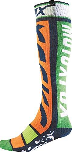 Fox Racing FRI Thin Divizion Men's MotoX Motorcycle Socks - Orange/Blue / (Fox Racing Fri Mx Socks)