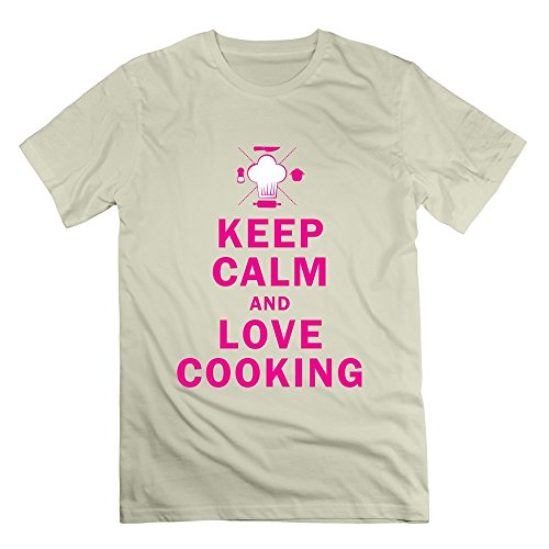 AJLNA Men's Keep Calm And Love Cooking T-Shirt X-Small Natural
