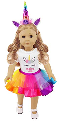 ibayda 3pc/Set Unicorn Doll Clothes Includes Rompers,Headband,Tutu for 18 inch American Girl,Our Generation Dolls, Birthday Gift for Kids (Our Generation Doll Cloths)