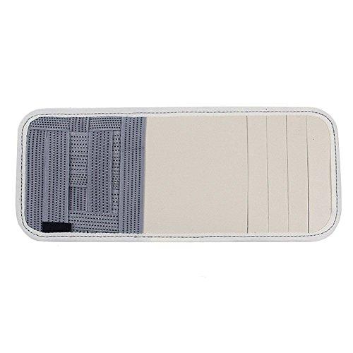 Bemodst 1 Pcs Leather Multifunction Car Vehicle Sun Visor Organizer Data Cable Cards DVD CD Disk Storage Holder (White) by Bemodst