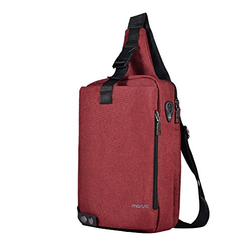 (MOSISO Sling Backpack with Metal Button, Polyester Travel Daypack Durable Chest Shoulder Unbalance Gym Fanny Lightweight Crossbody Sack Satchel Outdoor Hiking Bag for Men Women Girls Boys, Wine Red)