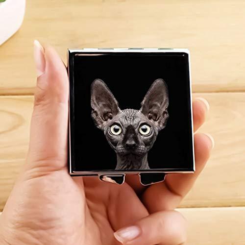Makeup Mirror for Women Girls Sphynx Cat Staring Pattern Design Light Portable -