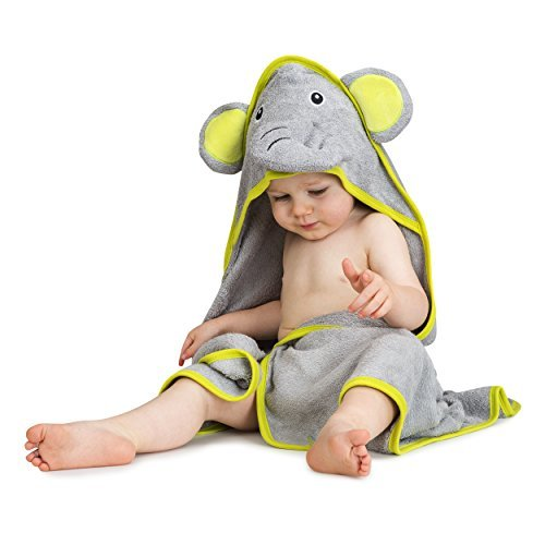 Elephant Infant Towels - Luxury Hooded Baby Bath Towel & Washcloth Set (Elephant) | Extra Soft Bamboo Baby Towels for Infant, Toddler, Newborn & Kids | Great Gift for Boys, Girls for Pool & Beach | Softer than Organic Cotton